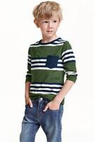 Boy's Girls Ex H&M RNeck Long Sleeve T Shirts in organic 100% cotton Stripe Tops