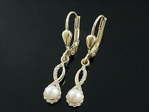 585 Gold Ohrringe mit Süsswasser Perlen 4mm und 36 Zirkonia Steinen  1 Paar