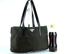 Authentic PRADA Milano Brown Nylon & Leather Tote Small Hand Bag Purse Italy