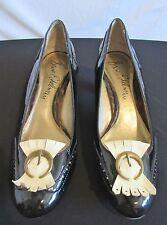 Sam Edelman Black & Ivory Patent Leather Moc Wing Tip Pump Heels Size 6M