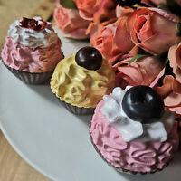 3 x Törtchen Muffins Künstliche Petit Fours Cupcakes Rosa Clayre&Eef Torte