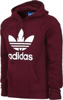 NEW Adidas Originals Men's Trefoil HOODIE Hooded Sweatshirt Jumper Maroon White