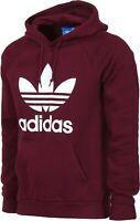 NEW Adidas Originals Men's Trefoil HOODIE Hooded Sweatshirt Jumper Maroon White