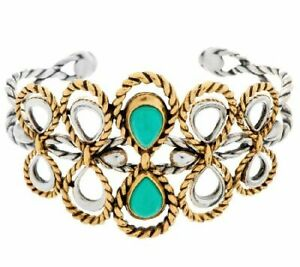QVC American West Sterling/Brass Turquoise Rope Desigb Cuff Bracelet $337