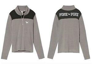 NEW Victorias Secret Gray Black Perfect Quarter Zip Long Sleeve Pullover Large