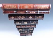 Early Vintage Maitland Smith Stack of Faux Leather Books WALL BRACKET Shelf Wood