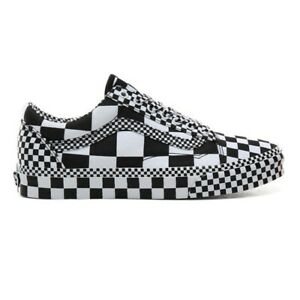 Vans Old Skool All Over Checkerboard Black White Shoes New W/Box Men's 3.5 - 13