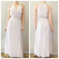 Old Navy Womens Cotton Gauze Maxi Dress Embroidered Sleeveless White Size S NWT