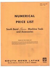 8-1966 Price List 6624 South Bend Lathe Machine Tools & Accessories vintage A