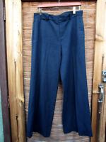 Ralph Lauren Sz 10 Women's Blue Dress Pants Navy Flat Trouser Cuff  Linen BT