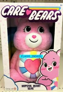 "Care Bears TARGET Exclusive HOPEFUL HEART BEAR Plush RAINBOW Pink 2021 NEW 14"""