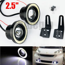 "2.5"" Car COB Halo Angel Eyes Ring Projector LED Fog Lights White Lamp Aluminum"