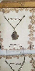 MICHIGAN Shaped PETOSKEY Pendant Necklace STATE Stone FOSSIL Jewelry NEW Gift