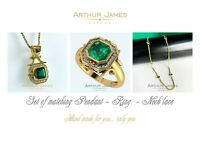3.50 Ct Pendant Ring Necklace set Emerald cut Colombian Diamond Green Jewelry