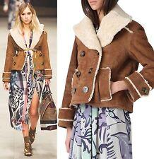 $4,995 Burberry Prorsum sz 10 12 44 Suede Shearling BROWN Jacket Coat Women 1