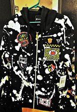 Akademiks Splatter Hoodie Sweater Zip Up Jacket Size M