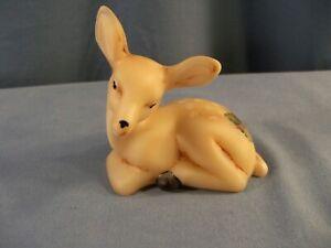 Mosser Hand Painted Glass Fawn Deer Figurine Holly Design