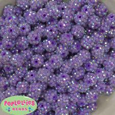 12mm Lavender Resin Rhinestone Bubblegum Beads Lot 40 pc.chunky gumball