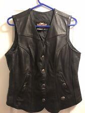Harley Davidson Black Leather Vest Size W/L
