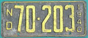 1940 North Dakota license plate  GAS OIL SIGN