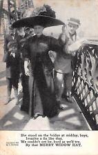 The Merry Widow Hat Blocks the Boys on the Bridge~Poem~1908 B&W Postcard