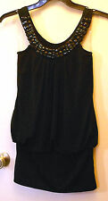 Violet  Black pullover short Dress or long top with Beading Around Neck Size S