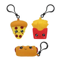 3 Keychains Small Squishy Comfort Foods Hot Dog Fries Pizza Kids Backpack Charm