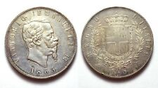VITTORIO EMANUELE II 1861-1878 -AG/ 5 LIRE 1865 NAPOLI
