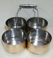 Metal Four Bowl Condiment Caddy Server Silver Handle MCM Unbranded Mystery Item