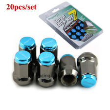 M12*1.5 Blue Project MU JDM Super 7 Lock Lug Nuts Teal Acorn Wheel Rims Lug Nuts