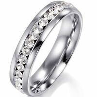 Men/Women CZ Couple Stainless Steel Wedding Ring Titanium Engagement Band 6-9
