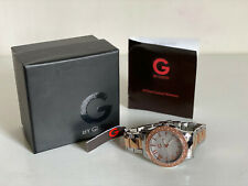 NEW GUESS GLITZ BEZEL TWO-TONE SILVER & ROSE GOLD STRAP BRACELET WATCH $125 SALE