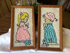 Mid Century 1960's PEBBLE GRAVEL ART Boy & Girl Praying Wall Hanging Nursery