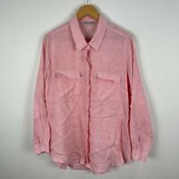 Target Linen Button Shirt Womens 18 Plus Pink Striped Long Sleeve Collared