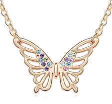 18K Rose Gold Plated Made with Swarovski Element Multi Colour Butterfly Necklace