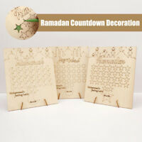 Wooden Ramadan Countdown Calendar DIY Graffiti EID Mubarak Decoration & Pen Gift