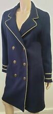 SILVIAN HEACH ITALIA Navy Blue Wool Blend Gold Rope Trim Blazer Jacket Coat S