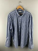 Trenery Mens Blue Check Collared Pockets Long Sleeve Button Down Shirt Size 3XL