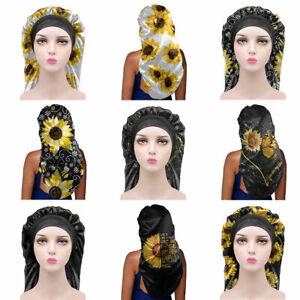 Sunflowers Print Women Long Sleep Bonnet for Hair Care Night Sleep Cap Hair Hats