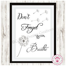 'Don't forget to breathe' motivational print art home office decor typography