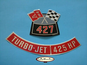 CHEVROLET CHEVY CORVETTE 427/425 HP TURBO- JET AIR CLEANER DECALS BIG BLOCK