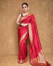 Banarasi Silk Saree Indian Wedding Designer Ethnic Woven Party Silk Sari Blouse