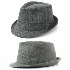 Tweed Trilby Hat Fedora Check Winter Dapper Gentleman Grey Gray New Gangster