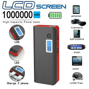 1000000mAh Power Bank Fast Charging External Battery Pack 2USB Portable Charger