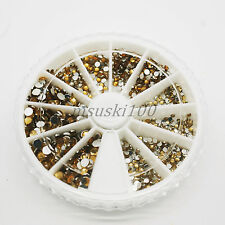 1800 Rhinestone Wheel Diamante Crystal Gems Nail Art Cards 3D Tips Decoration