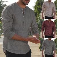INCERUN Men's Long Sleeve Shirt Collarless Henley V Neck Tops Cotton Blouse Tee