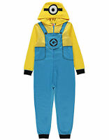 Boys Despicable Me Minions Hooded Fleece All in One PJS Sleepsuit 2-14 Years NEW