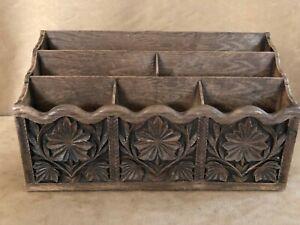 Tabletop Desk Letter Mail File Organizer Lerner Melville NY Faux Wood Vintage