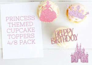 Princess Birthday Cupcake Toppers Glitter Castle Cake Party Food Decorations