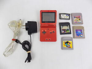 Nintendo Red Gameboy Game Boy Advance SP - 5x Games Bundle + Link Cable